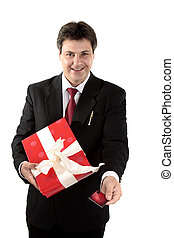 Man buying present - A man buys a present with a gift card...