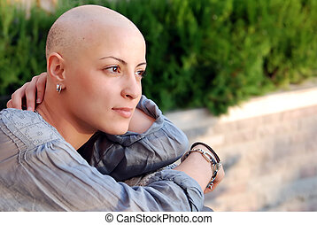 Positive Attitude - A beautiful cancer patient with positive...