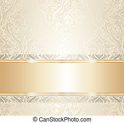 white & gold vintage wallpaper