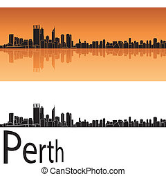 Perth skyline in orange background in editable vector file