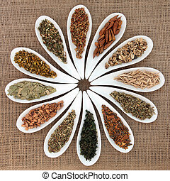 Magical and Medicinal Herbs - Herb selection used in natural...