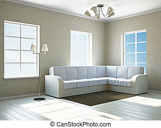 Livingroom with white sofa near the windows