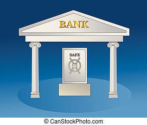 Bank building with big safe. Illustration.