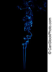 blue smoke rings on black background - blue rings and curls...
