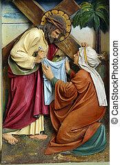 Veronica, rosto,  wipes,  Jesus
