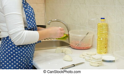 Female Hands Making Dough For Meat Pie On Counter Top