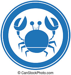 Blue Circle Crab Logo Cartoon Character
