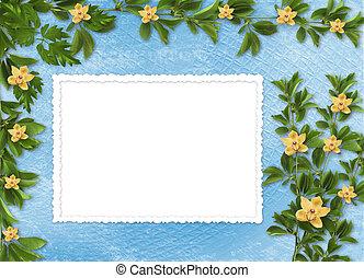 Karta, zaproszenie, Albo, gratulacje, Orchidee, gałązki