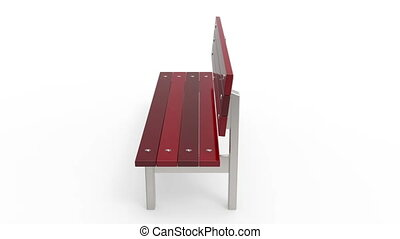 Park bench rotates on white background