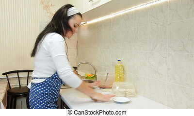 Woman Baking In The Kitchen, Rolling Dough For Meat Pasty On...