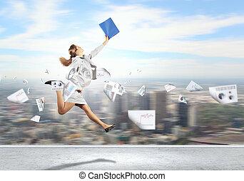 Image of running businesswoman