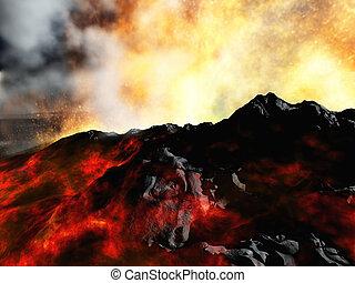 Volcanic eruption - Huge volcanic eruption on land