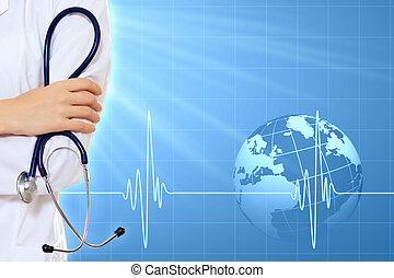Illustration with heart beat - Illustration with medical...