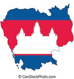 land, schets, vlag, Cambodja