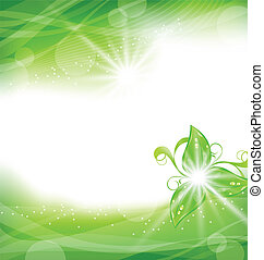 Eco friendly background with green leaves