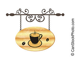 Wooden forging sign with coffee cup - Illustration wooden...