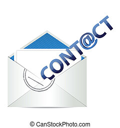 E mail contact us, illustration design over a white...