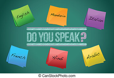 do you speak board illustration design over a white...