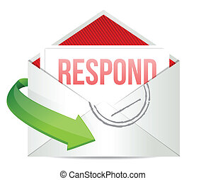 respond envelope illustration design over a white background