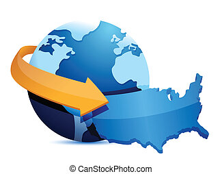 globe US map illustration design over a white background