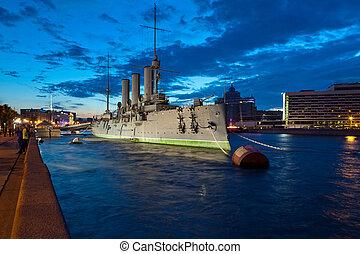 Cruiser Aurora in St Petersburg, Russia - The cruiser Aurora...