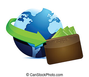 globe wallet illustration design over a white background