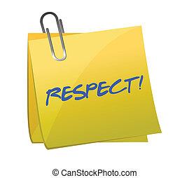 respeto, escrito, pegajoso, nota, Ilustración