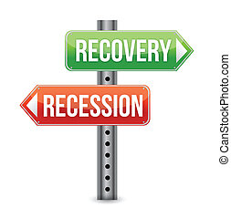 Recession and Recovery road sign illustration