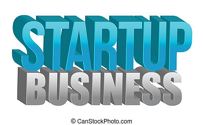 Startup business text illustration design over a white...