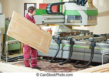 Carpintería, madera, puerta, producción