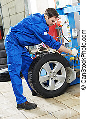 repairman mechanic at wheel replacement - mechanic repairman...