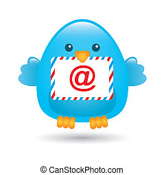 blue bird with message envelope. vector illustration
