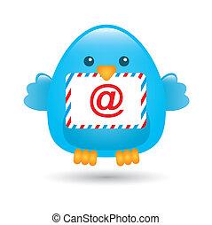 blue bird with message envelope. vector illustration
