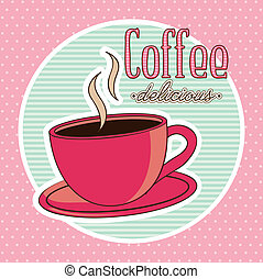 coffee vector - coffee cup illustration over pink...
