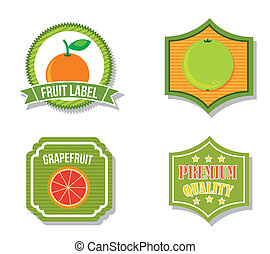 citrus fruit labels over isolated background. vector...