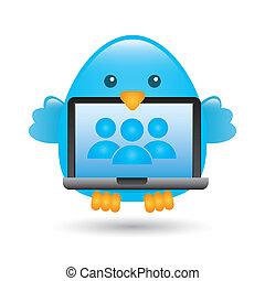 blue bird over white background. vector illustration