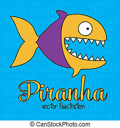 Cute Piranha - Illustration of Cute Animals Piranha...