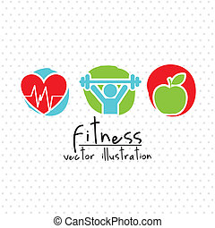 fitness illustration - fitness drawing over white background...