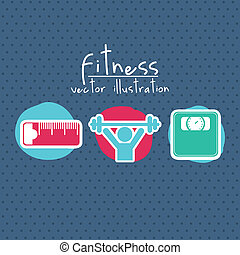 fitness icons over blue background. vector illustration