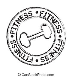 dumbbells icons seal isolated, grunge vector illustration