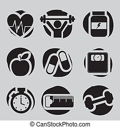fitness icons over gray background. vector illustration