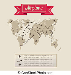 Airplane icons - Illustration of airplane icons flight plans...