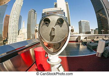 downtown Los Angeles - rooftop view with telescope to...