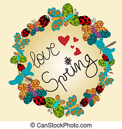 Spring love composition with vibrant colors elements. Vector...