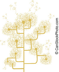 Dandelion concept tree isolated over white. Vector file...