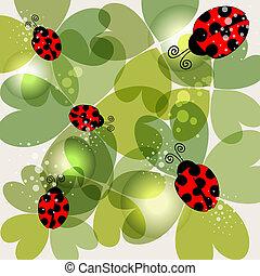 Transparent clover and ladybug background - Spring time...