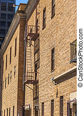 fire ladder at an old Brick house