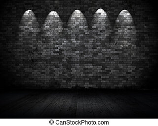 Grunge wall with spotlights
