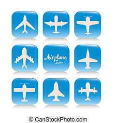 Airplane icons - Illustration of airplane icons. Silhouettes...