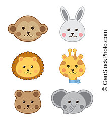 baby animals - faces baby animals isolated over white...